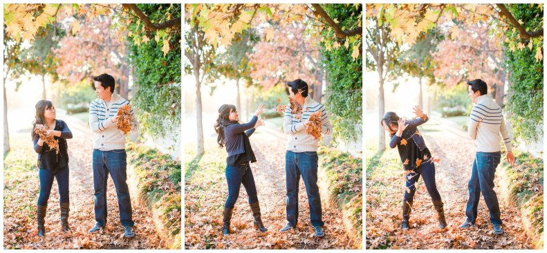 Fall Leaves Engagement_triptych_Vivian Lin Photo